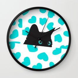 Kitty on Blanket with Hearts Wall Clock