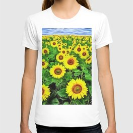 Sunflower Fields Forever, Landscape Painting by Jeanpaul Ferro T-shirt