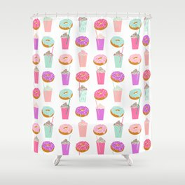 Coffee and Donuts pastel pink mint cute pattern gifts for valentines day love Shower Curtain