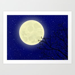 Stars, the Moon, and a Tree Art Print