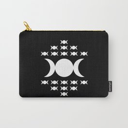 Triple Moon Goddess - White on Black Carry-All Pouch