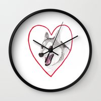 valentine Wall Clocks featuring Valentine by okayleigh