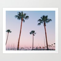 Palm Trees at Sunset Art Print