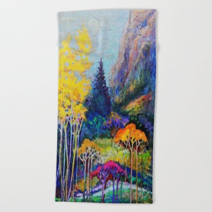 Mountain Aspen Trees  Landscape Beach Towel