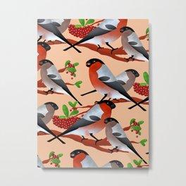 Bullfinch and berries Metal Print
