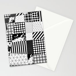 Mosaic Contrast - Black and white, geometric design Stationery Cards