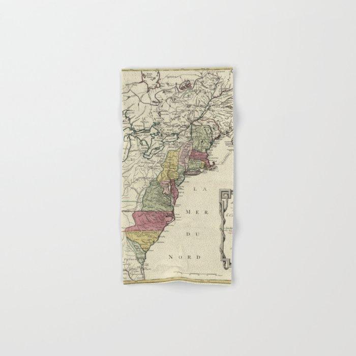Colonial America Map by Matthaus Lotter (1776) Hand & Bath Towel