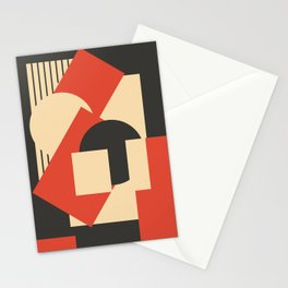 Geometrical abstract art deco mash-up scarlet beige Stationery Cards