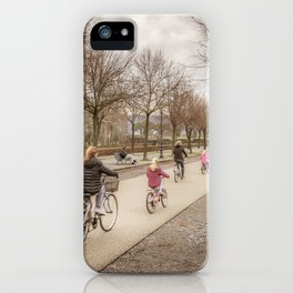 Winter Scene People at Park, Lucca, Italy iPhone Case