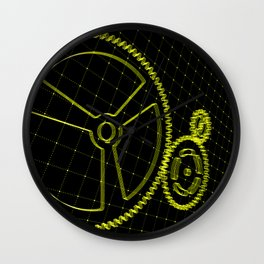 Set of yellow gears and cogs on virtual screen Wall Clock