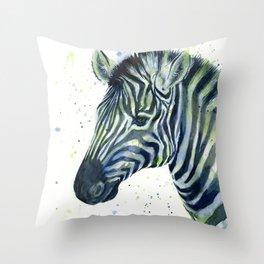 Zebra Watercolor Blue Green Animal Throw Pillow