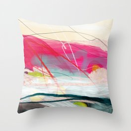 abstract landscape with pink sky over white cloud mountain Throw Pillow