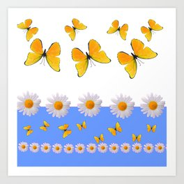 BLUE MODERN ART YELLOW BUTTERFLIES & WHITE DAISIES Art Print