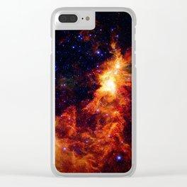 Fiery gAlAXy Indigo Stars Clear iPhone Case