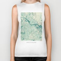 vintage map Biker Tanks featuring Amsterdam Map Blue Vintage by City Art Posters
