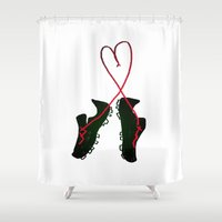 soccer Shower Curtains featuring Soccer Love by Leah Flores