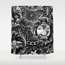 Black and White Woven IOOF Symbolism Tapestry Shower Curtain