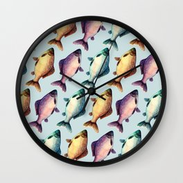 Colorful fishes pattern with bluish background Wall Clock