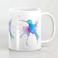 craftberrybush Mugs featuring Hummingbird watercolor  by craftberrybush