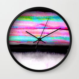 Fading view abstract landscape painting Wall Clock