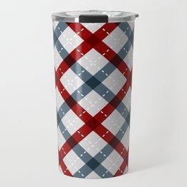 Colorful Geometric Strips Pattern - Kitchen Napkin Style Travel Mug