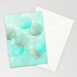 Silver and Mint Blue Christmas Ornaments Stationery Cards