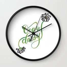 Oopsy Daisy Hand Lettered Illustration Design White Flowers Daisies Wall Clock