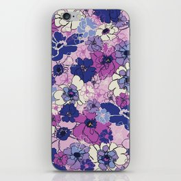 Red Violet and Navy Anemones iPhone Skin