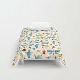 Little Bugs & Mini Beasts on Cream Comforters