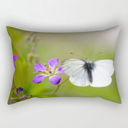 White Butterfly Natural Background Rectangular Pillow