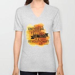 Revolutionary Act - quote design Unisex V-Neck