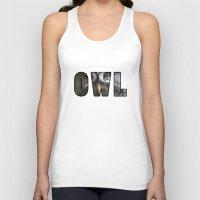 font Tank Tops featuring Font Owl by Jinzha Bloodrose