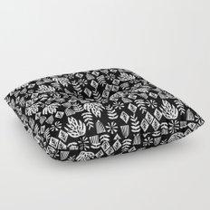 Tropical linocut tribal island pattern scandinavian art print black and white minimal Floor Pillow