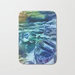 pen and ink boats blue Bath Mat
