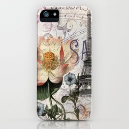 french scripts lotus floral vintage paris eiffel tower iPhone Case
