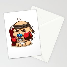 Infant fighter red boxing gloves headband and punching bag Stationery Cards