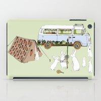 rabbits iPad Cases featuring Camping Rabbits by Emma Traynor