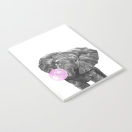 Bubble Gum Elephant Black and White Notebook