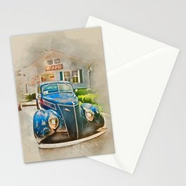 Blue Classic Car Stationery Cards