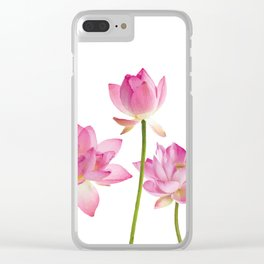 Lotos Waterlilies Flowes pink Clear iPhone Case