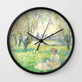 Woman Seated under the Willows - Claude Monet Wall Clock