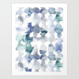 Dye Ovals Blue Green Grey Art Print