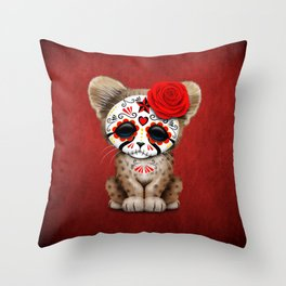 Red Day of the Dead Sugar Skull Cheetah Cub Throw Pillow
