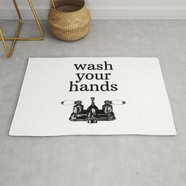 Wash Your Hands | Modern Farmhouse Rustic Vintage Decor, Bathroom or Kitchen Rug