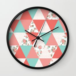 Triangle quilt pattern cute florals dots cheater quilt blanket quilter must have cute baby shower  Wall Clock