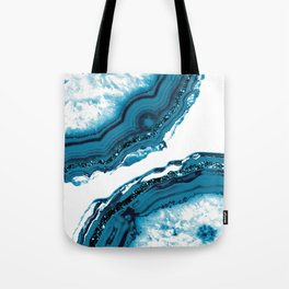 Blue Agate Glitter Glam #1 #gem #decor #art #society6 Tote Bag
