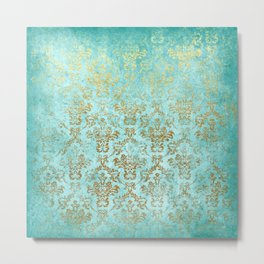 Mermaid Gold Aqua Seafoam Damask Metal Print