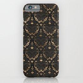 Persian Oriental Pattern - Black Leather and gold iPhone Case