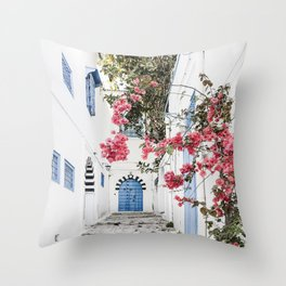 Blue Door Pink Blossom Photo | Tunisia Travel Photography | Alley With Blue Door And Pink Flowers Throw Pillow