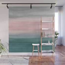Touching Teal Blush Gray Watercolor Abstract #1 #painting #decor #art #society6 Wall Mural